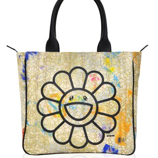 Canvas Handbag - Gold flowers / black artwork / rainbow skulls interior art for sale