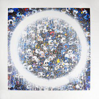 Enso: Memento Mori Red on Blue art for sale