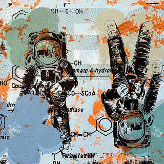 Astronaut Double Disaster in Blue & Orange art for sale