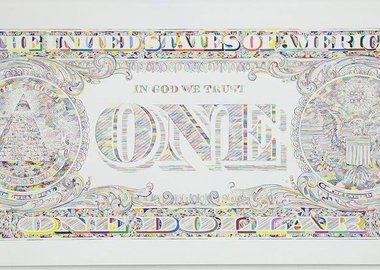 work by Tom Friedman - Untitled (dollar bill back)