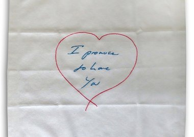 Tracey Emin - I Promise To Love You - embroidered napkin