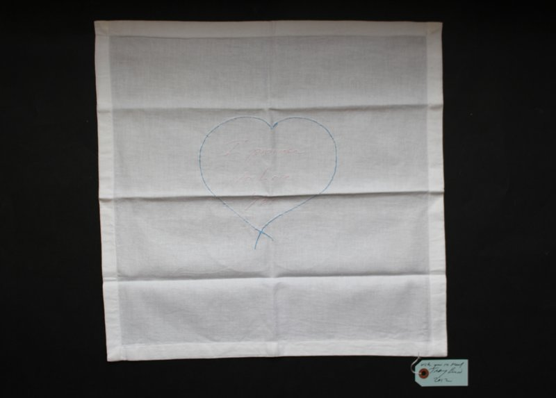 Tracey Emin, I Promise To Love You - embroidered napkin -