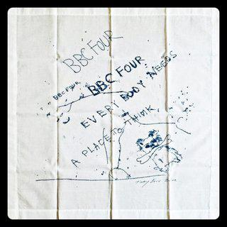 Tracey Emin, Everybody Needs a Place to Think (Limited Edition Vintage Promotional Handkerchief, VIP Invitation and Box) for British Broadcasting Company (BBC 4)