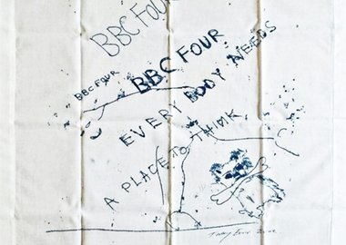 Tracey Emin - Everybody Needs a Place to Think (Limited Edition Vintage Promotional Handkerchief, VIP Invitation and Box) for British Broadcasting Company (BBC 4)