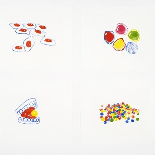 Snoep, Gummy Teeth, Roudoudou, Spiegeleier (2018) Set of four art for sale