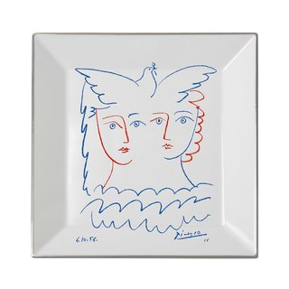 Square plate Two Women with Dove art for sale