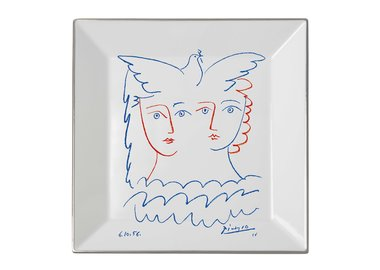 work by Pablo Picasso - Square plate Two Women with Dove