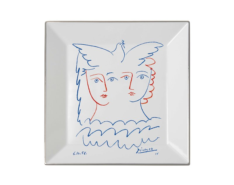 main work - Pablo Picasso, Square plate Two Women with Dove