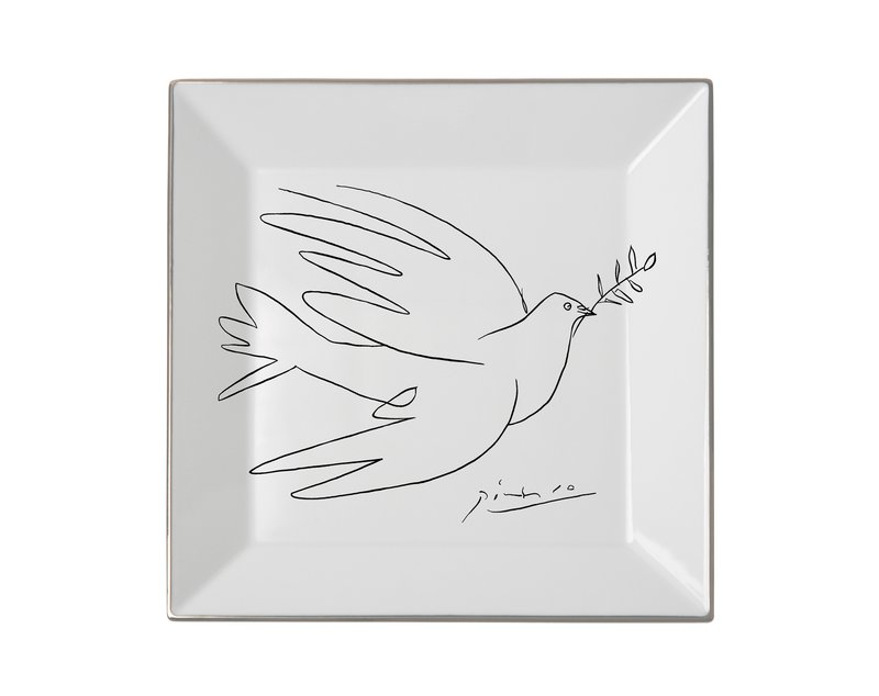 main work - Pablo Picasso, Square plate The Dove