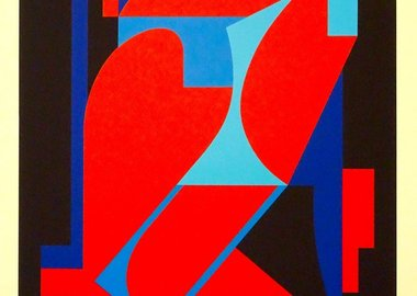 work by Victor Vasarely - Red And Blue Composition