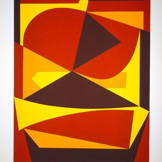 Victor Vasarely, Brown And Yellow Composition