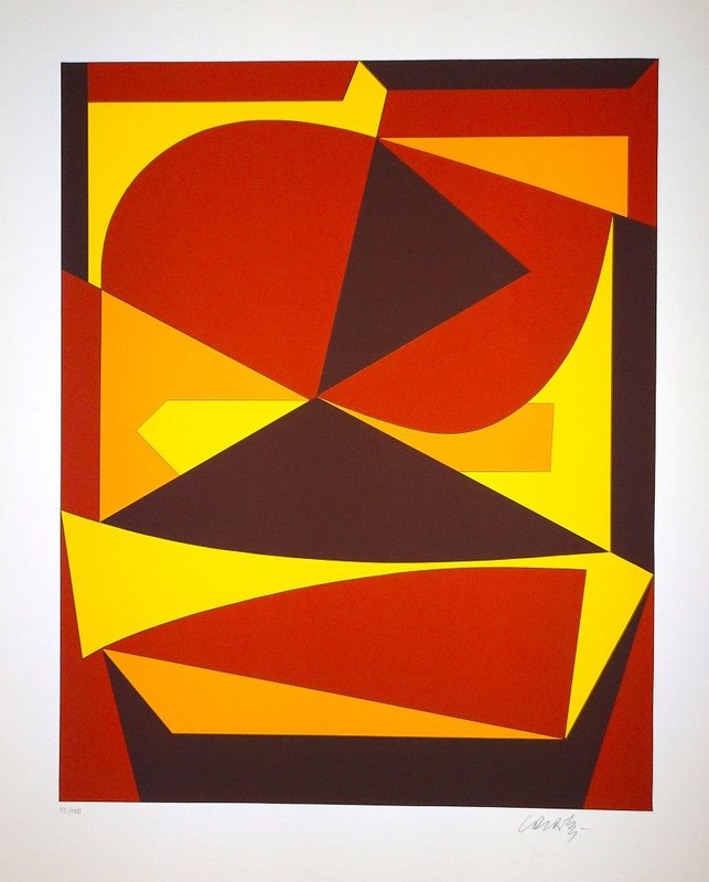 main work - Victor Vasarely, Brown And Yellow Composition