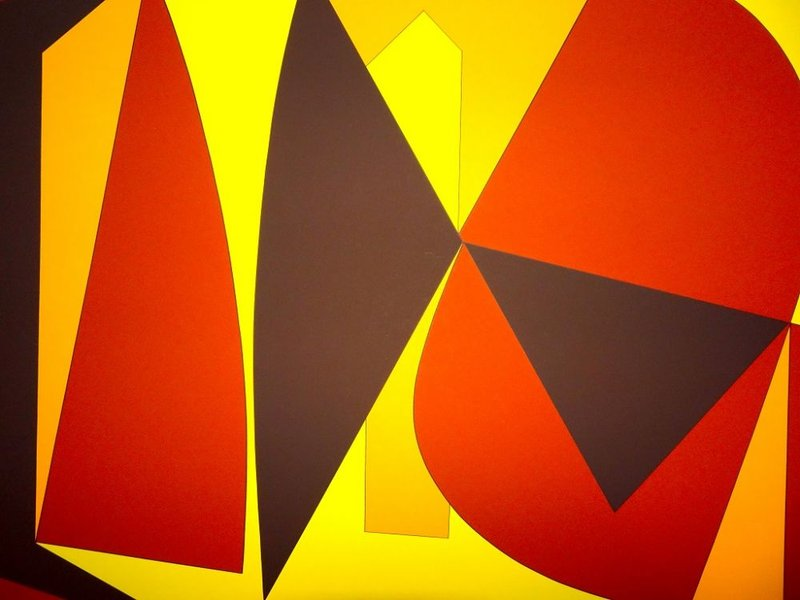 view:22771 - Victor Vasarely, Brown And Yellow Composition -