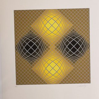 Kinetic Composition, Four Yellow Spheres art for sale