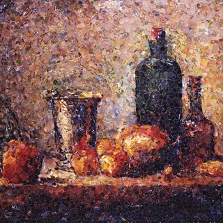 "Seville Orange, Silver Goblet, Apples, Pear, and Two Bottles, After Chardin (from Pictures of Magazines)"" art for sale"