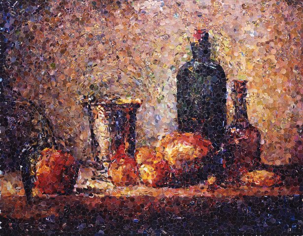 Vik Muniz - Seville Orange, Silver Goblet, Apples, Pear, and Two Bottles, After Chardin (from Pictures of Magazines)""