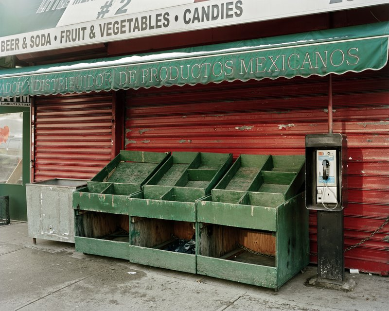 Will Steacy, Empty Vegetable Stand On Valentine's Day, looking east from 3rd Ave & 110th, NYC