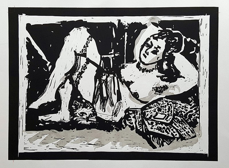 by william_kentridge - Reclining Figure with Cat