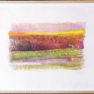Rosy Landscape in Distant Barn art for sale