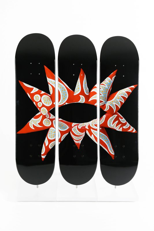 Yayoi Kusama, Flowering Heart Limited Edition Skateboards (Triptych)