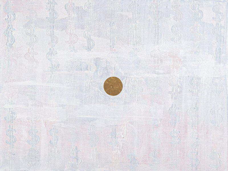 by yuri-figueroa - Snow Money - White Dollar Sign Abstract Painting with Gold Leaf