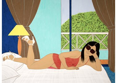 Yves Tessier - Woman in Shades Reclining on Bed