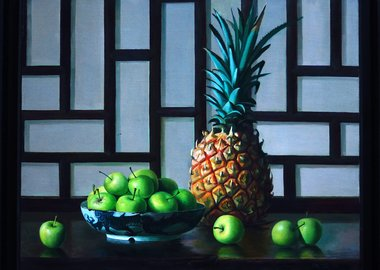 work by Zhang Wei Guang (Mirror) - Pineapple and Apples