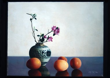 work by Zhang Wei Guang (Mirror) - Flowers and Eggs