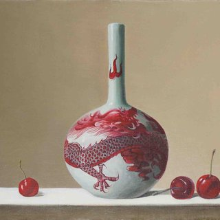 Vase and Cherries art for sale