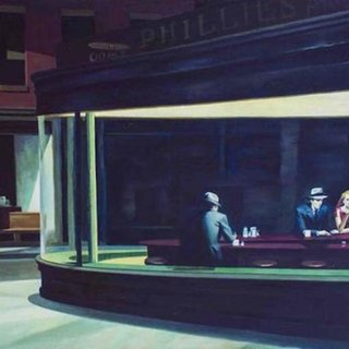Nighthawks - Oil on Canvas by Zhang Wei Guang After E. Hopper art for sale