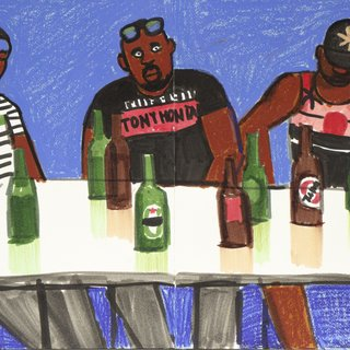 Three Biafrans Drinking Beer art for sale