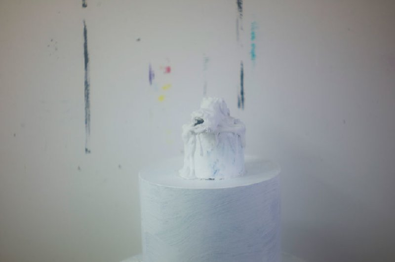 show image - Remembered Light, Untitled (Squat White Sculpture and Paint Edges)