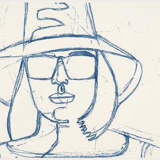 Alex Katz, White Hat and Sunglasses