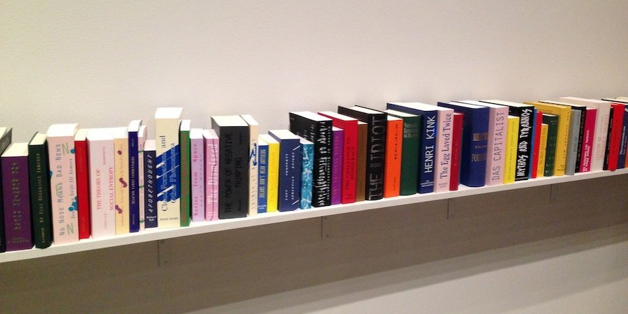 Agnieszka Kurant's imaginary books, waiting to be written into reality, at SculptureCenter
