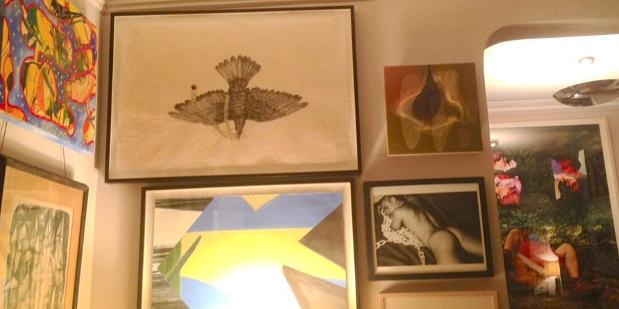 At top, a 2003 Kiki Smith collage lithograph purchased at a benefit for Momenta Art.