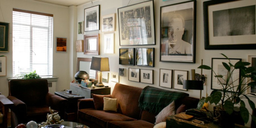 Wagner and Hoggard's art-filled living room.