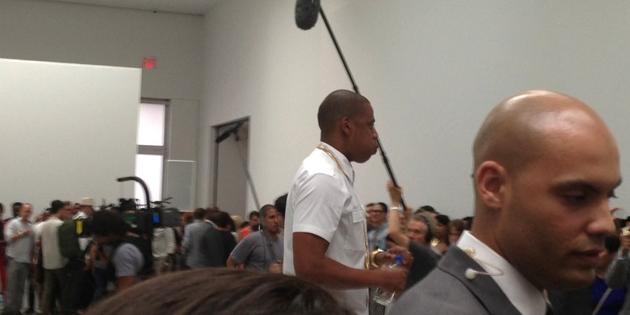 "Jay-Z between takes at Pace Gallery for his new video ""Picasso Baby,"" presented by Salon 94."