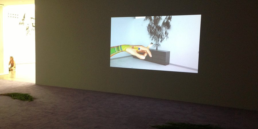 A video in Helen Marten's first U.S. museum exhibition, at CCS Bard.