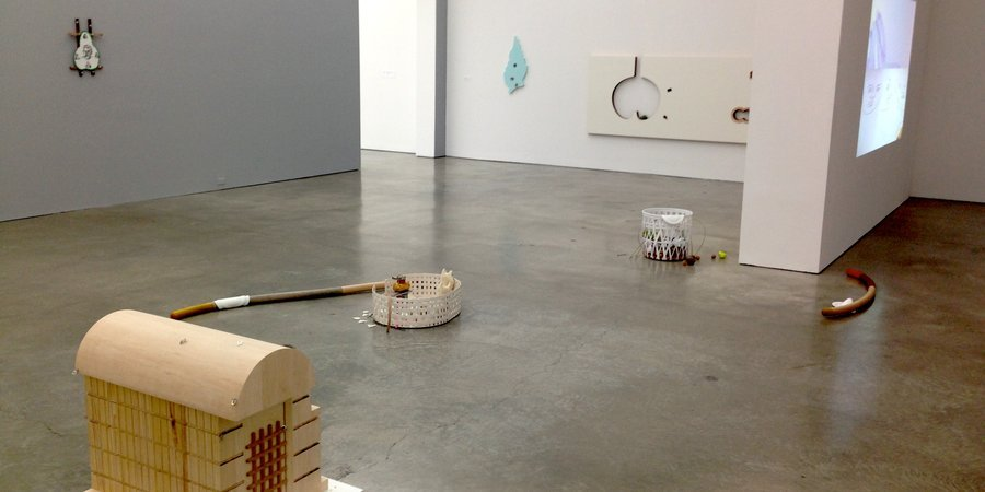 "Installation view of Helen Marten's ""No Borders In a Wok That Can't Be Crossed."""