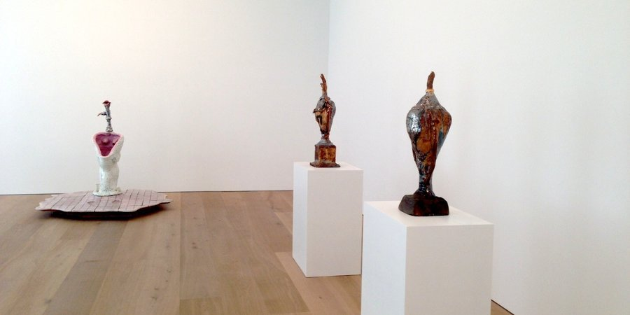 An installation view of Robert Arneson's exhibition of early ceramics at David Zwirner's 20th Street gallery.
