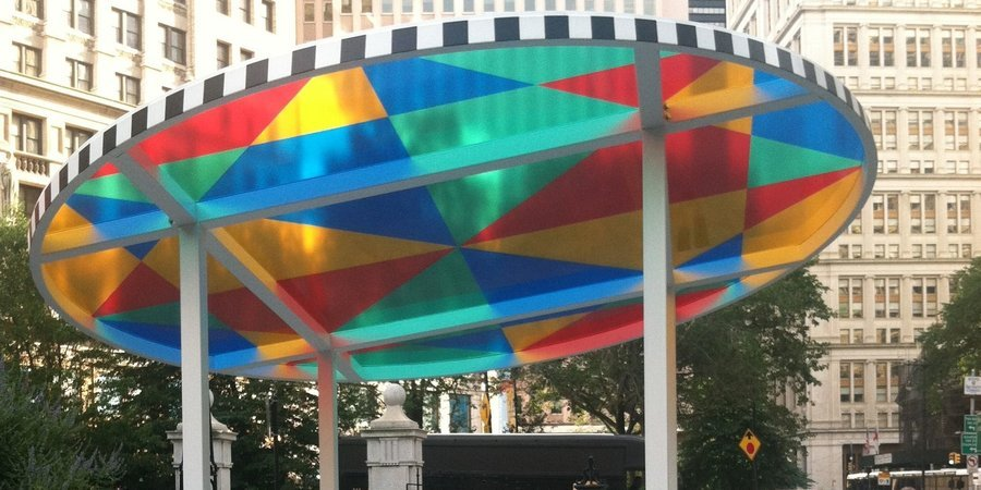 "Daniel Buren's ""Suncatcher"" in City Hall Park, part of Public Art Fund's exhibition ""Lightness of Being,"" up through December 13."
