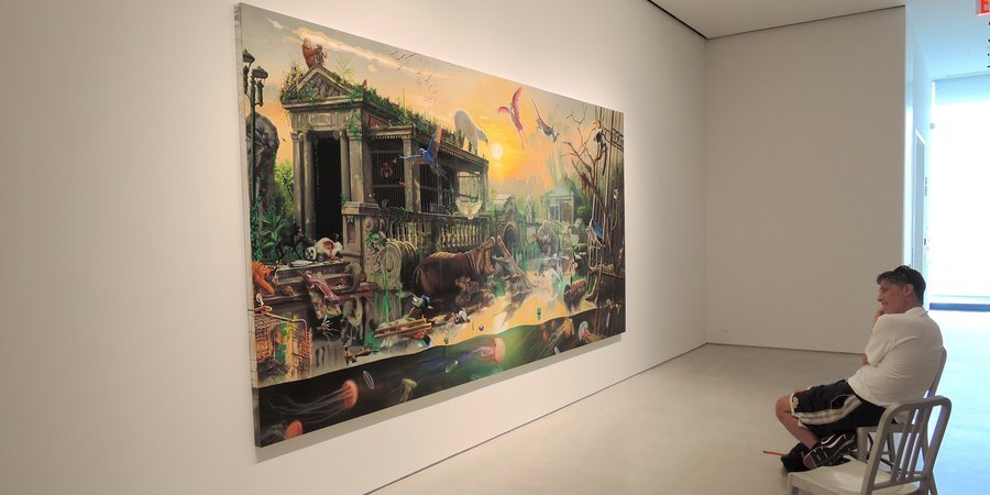 "Rockman with his painting ""Bronx Zoo,"" 2013, at Sperone Westwater"