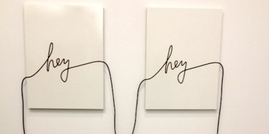 "James Hoff's ""Hey Hey,"" an audio-cable strung along two canvases, at Lisa Cooley Gallery."
