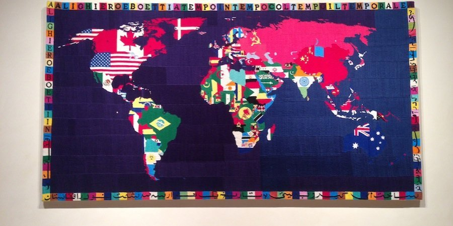 A specacular Alighiero e Boetti map painting in the living room
