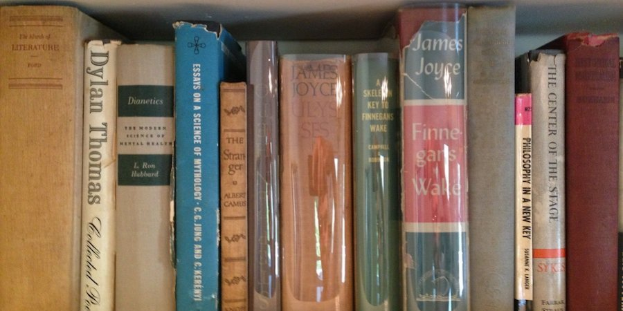 A shelf on a bookcase (apparently the couple liked James Joyce)