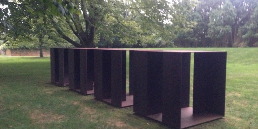 A Donald Judd sculpture also on the lawn