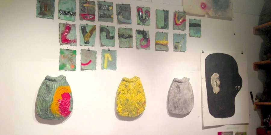 New plaster wall sculptures and drawings at Kevin Lips's Bushwick studio.