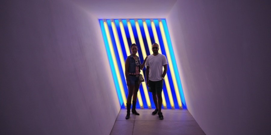 Alia and Abdullah with a Dan Flavin at the Chinati Foundation