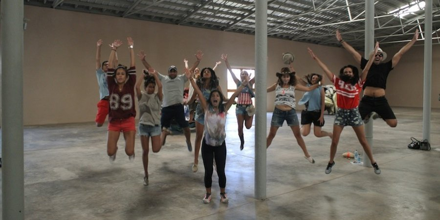 Jumping in the John Chamberlain room at the Chinati Foundation