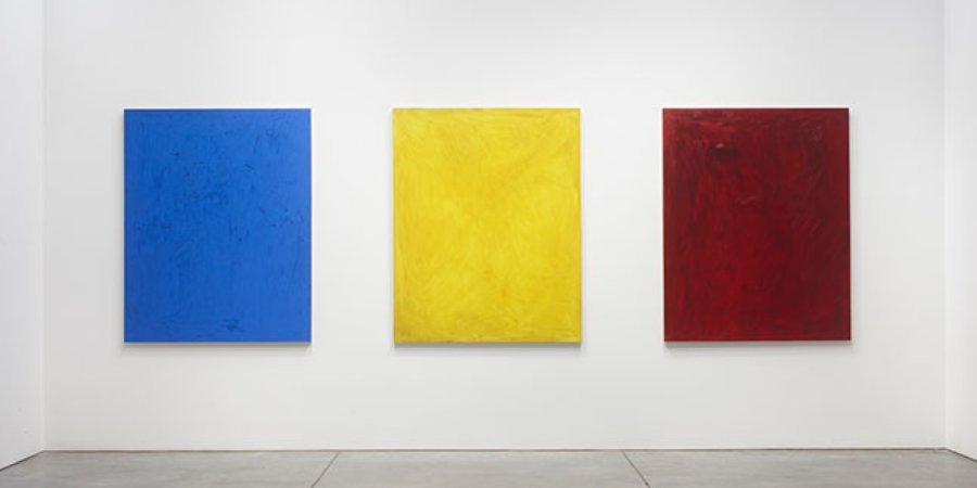 "Josh Smith, ""Blue,"" ""Bright Yellow,"" and ""Red Wine,"" all 2013, Courtesy of the artist and Luhring Augustine, New York."